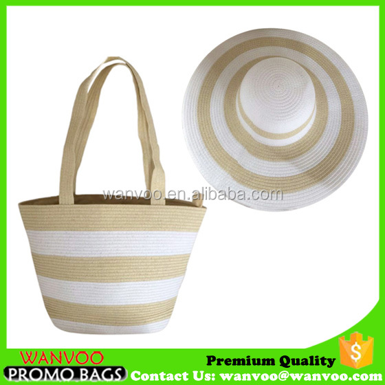 Set of Summer Straw Beach Bag And Woven Hat For Lady Made In China