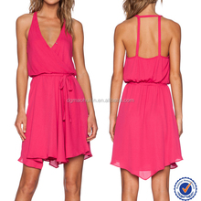 V-neckline casual short dress in chiffon waist tie red australia dress latest party wear dressese for girls