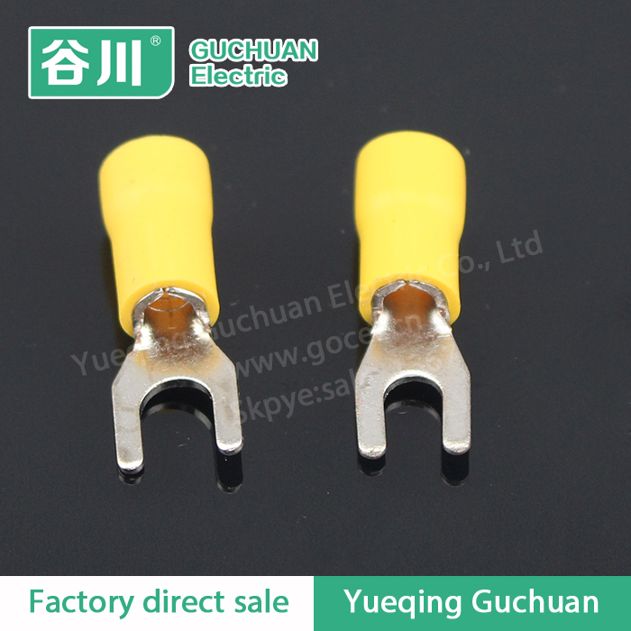 high quality cold-pressed terminal Yellow insulated locking spade sleeve terminal SVS5.5-4
