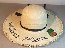 8 Bu paper straw hand woven floppy hat with pinapple sequins patch and embroidery