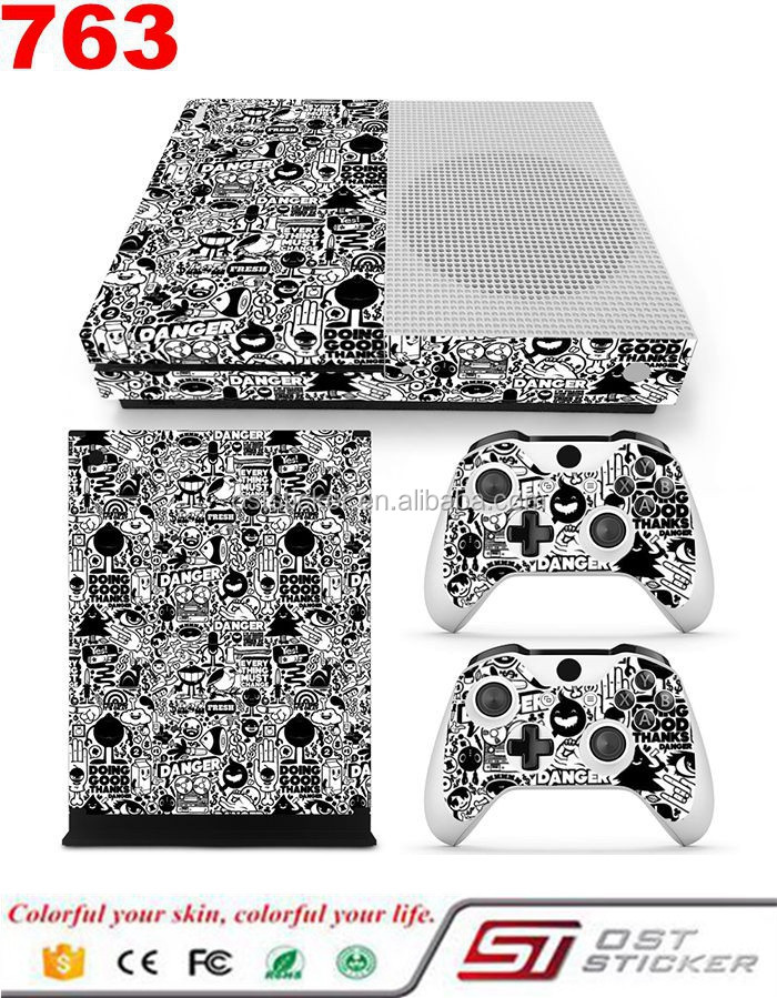 High Quality Decal Cover For Xbox One Slim Console Vinyl Skin & 2 Controllers Sticker