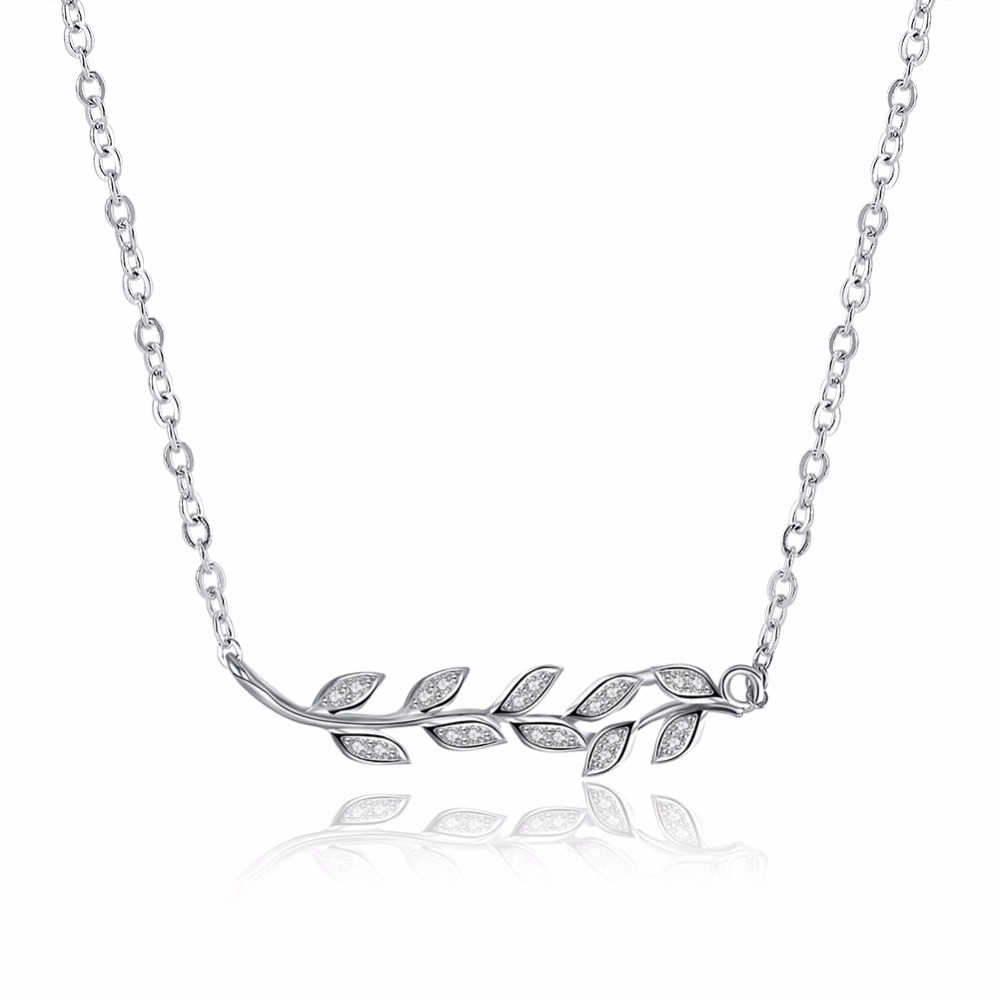 New Design Romantic Sterling Silver Olive Branch Necklace