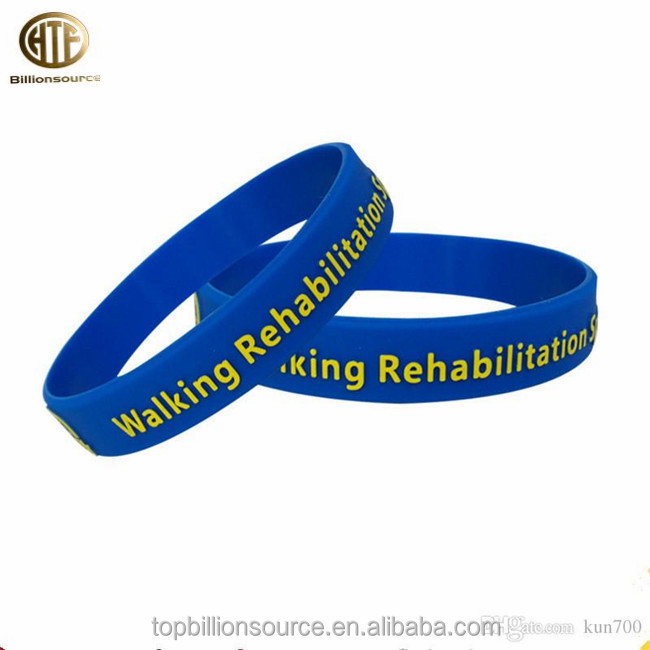 Wholesale printing words rubber plastic wristbands bracelet for promotions