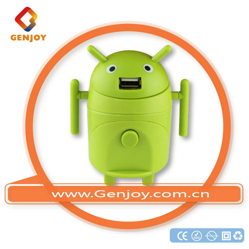 GENJOY Cute Android robot world top sell universal mini travel adaptor with dual usb charger with ce rohs fcc UK/Europe/USA/AU
