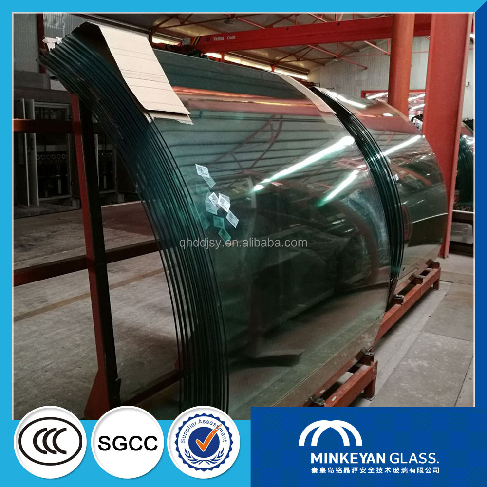 Qinhuangdao 4-19mm High Strength Bent curved Tempered Glass in China