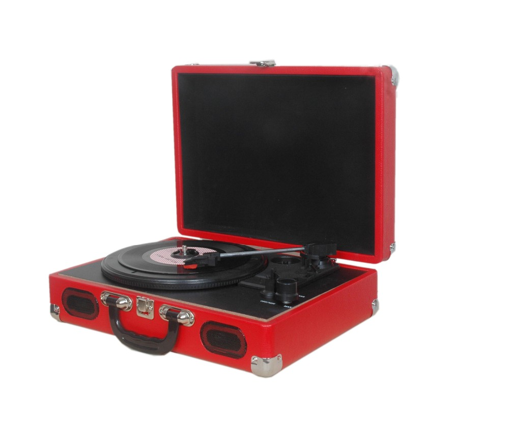wholesale portable Newest record player with MP3 player in suitcase