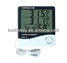 HTC-2 Digital LCD Temperature Thermometer Humidity Meter Clock with Probe