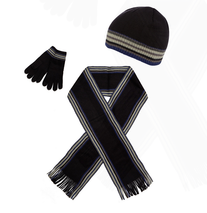 Black striped hat, scarf and gloves set