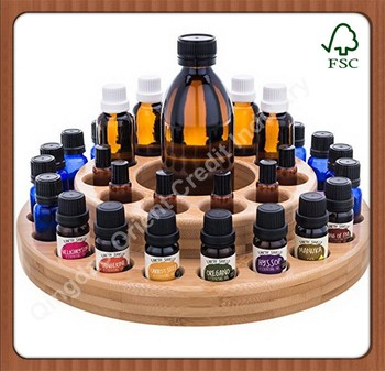 2-tier Round Bamboo Essential Oil Bottle Holder
