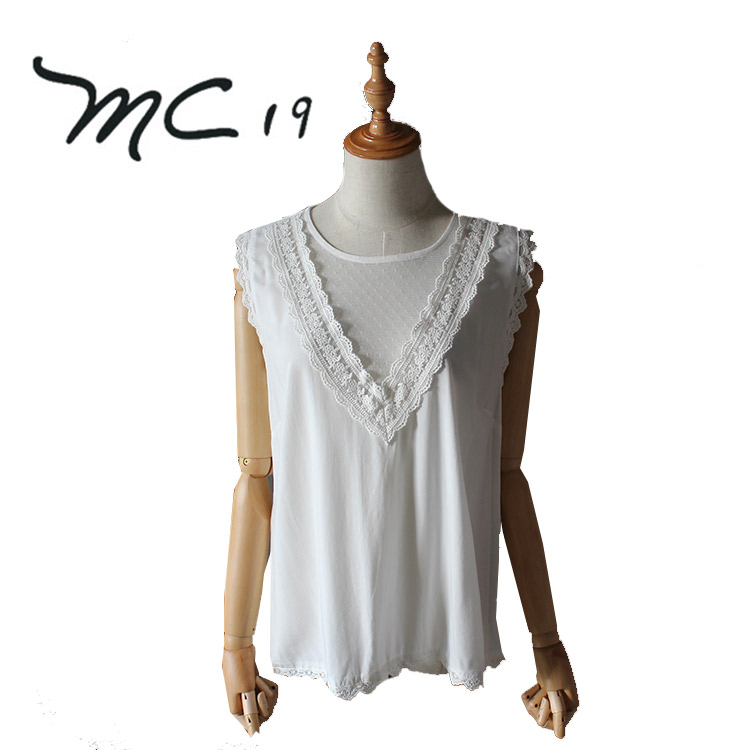 The Latest Design In 2018 Women Casual Blouse Designs Ladies Lace White Sleeveless Blouse