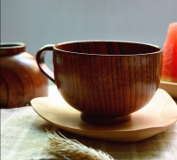 Newstyle handle bowl shape wood coffee cup/wooden tea/milk mug