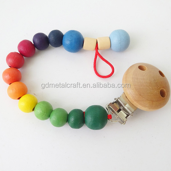 Natural Wood Pacifier Clips Suspender Dummy Clips With Silicon Teething Beads