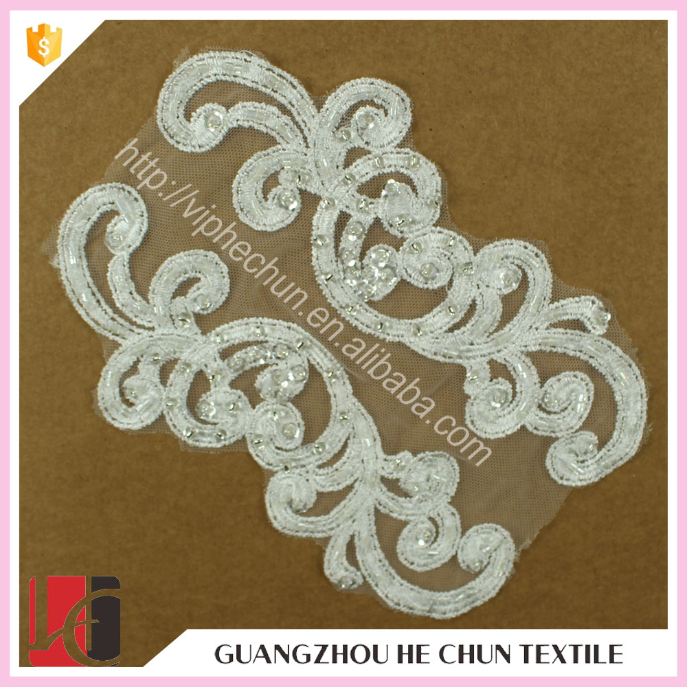 HC-2697-1 Hechun Wedding Accessory Sewing Sequins Lace Motif Bridal Applique