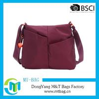 Wine red waterproof messenger bag 300D nylon