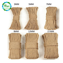 China Suppliers Cheap Price Colorful 8mm 10mm Twine Waxed Thick Jute Hemp Rope
