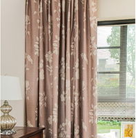 wholesale pleated hotel bedroom plants pattern blackout cotton polyester jacquard window curtain fabric