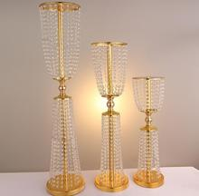 "gold silver color 31.5"" tall crystal acrylic centerpiece wedding crystal table decor flower stand event decoration"