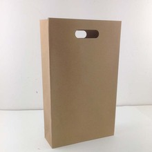 Wholesale die cut murah custom print brown kraft paper bag,stand up flat bottom kraft paper bag