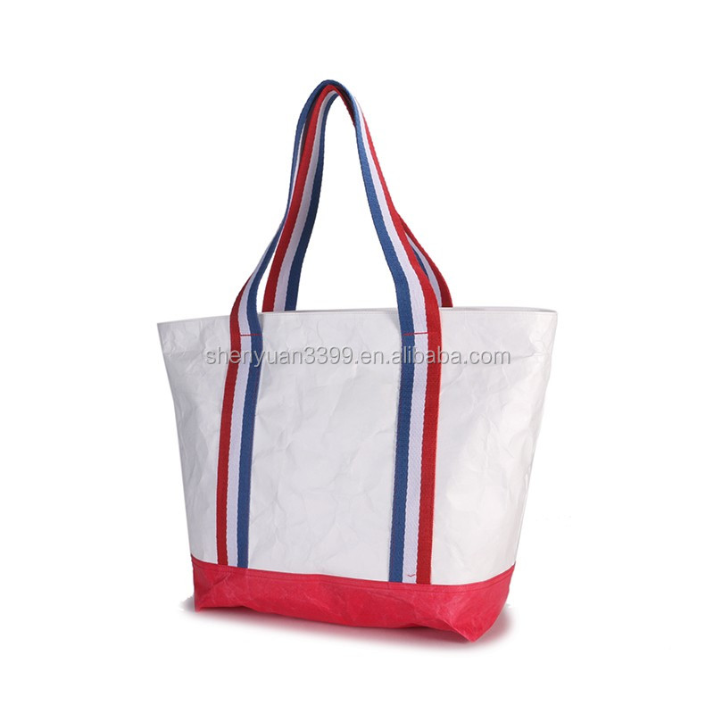 2017 New arrivel Dupont paper handbags/ Ripstop Tyvek paper tote bags with striped tape