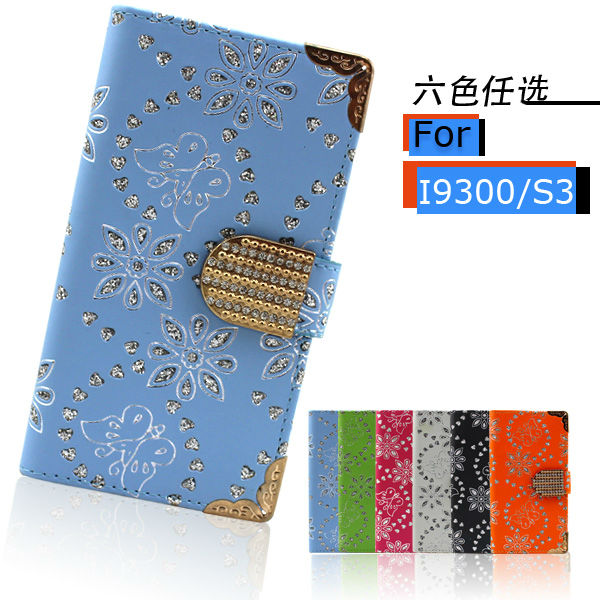bling flower leather purse case for samsung galaxy s3 i9300
