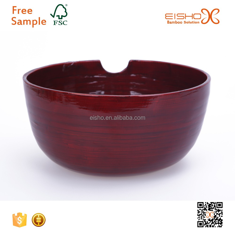 Lacquer Spun Bamboo Bowl with Cut
