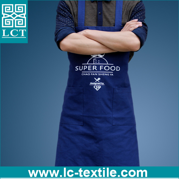 personalized navy blue polyester cotton chef cooking back cross bib apron