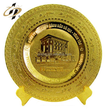 Custom zinc alloy gold metal name souvenir plate with holder