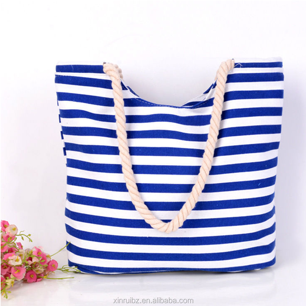 Guangzhou products white bule stripe beach bags canvas 2016