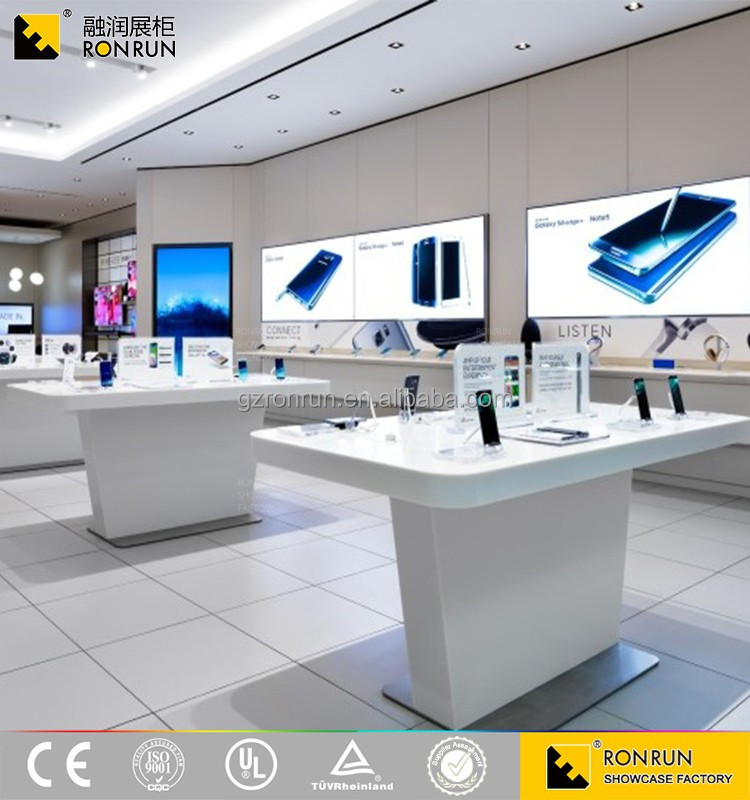 Modern Style Wooden Electronic Mobile Phone Shop Counter Design