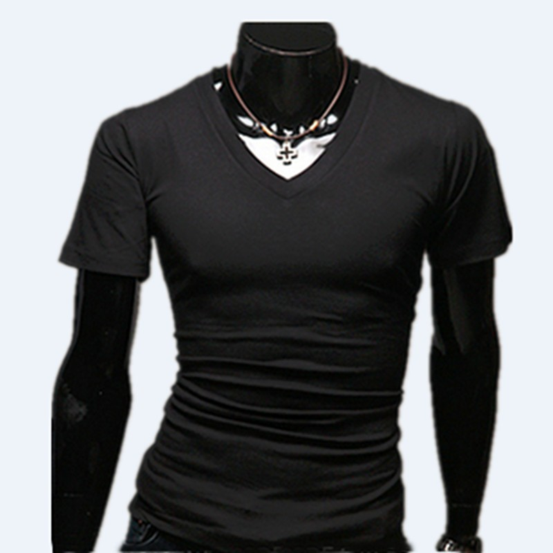 Men's Tops Tees 2018 low prices summer new cotton v neck short sleeve <strong>t</strong> <strong>shirt</strong> men fashion trends fitness tshirt