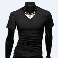 Men's Tops Tees 2018 low prices summer new cotton v neck short sleeve t shirt men fashion trends fitness tshirt