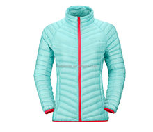 Cozy winter down jacket womens combines durable water resistant fabric goose down jacket