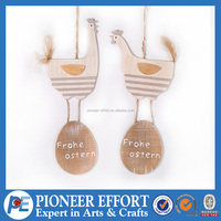 Wooden Chicken with Eggs Hanging Ornament for Easter Decoration