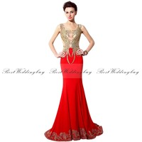 2016 Collection Sparkly Luxurious Mermaid Scoop Sleeveless Court Train Appliqued Beaded Lycra Crepe Red Long Evening Dresses