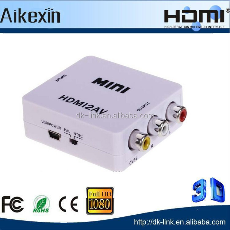1080P Mini HDMI to RCA CVBS composite Audio Video Converter Adapter For STB PC PS4 DLP Xbox DVD players Blu-ray To HDTV