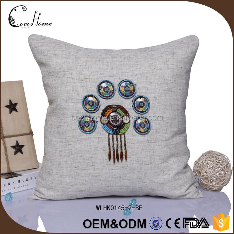 Wholesale latest design office blue diamond linen applique work cushion cover