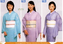 Japanese/Korea elegant cotton Houmongi Visiting Kimono girls flower printing customize traditional formal ethnic costume
