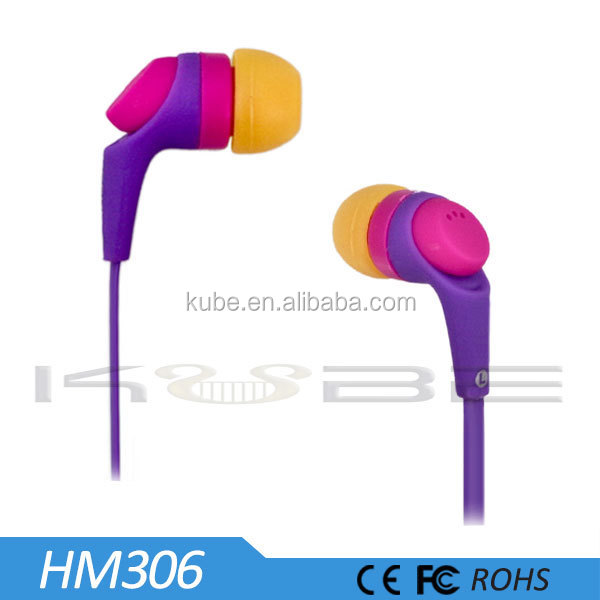 ABS plastic material flat wire earbuds suitable for Any Brand Mobile Phone