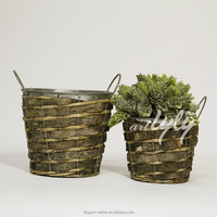 2015 new hot indoor plant flower pot with iron liner wholesale