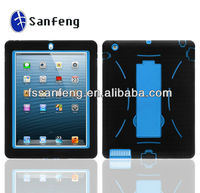 Customized silicon and PC case 2in1 kickstand robot case for ipad 4