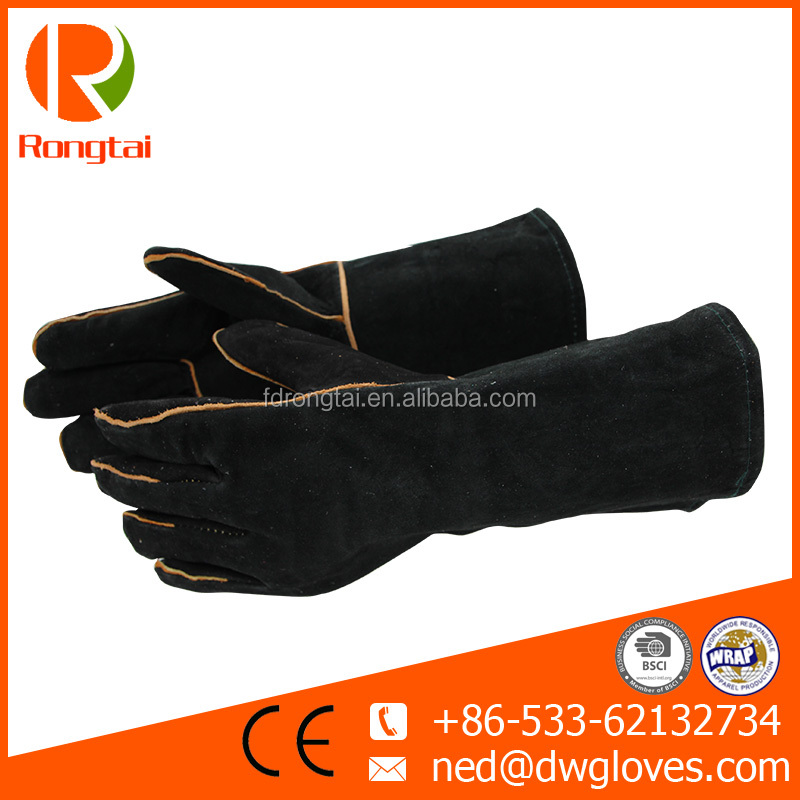 Durable black cow split whole leather soldering gloves
