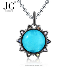 Noble Sun flower design blue crystal pendant, 925 silver color Cubic zirconia jewelry necklace