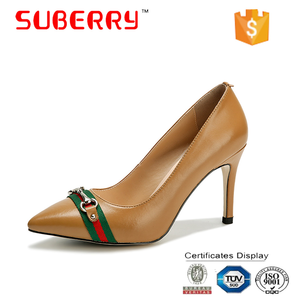 SUBERRY 2017 Handmade pumps Pointed toe Chain decoration high heels leather shoes luxury brand women shoes