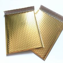 Gold big metallic poly plastic aluminum foil envelopes air self seal mailing postage bubble bag