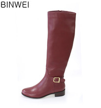 Guangzhou shoes factory real leather high quality cheap price knee boots for woman