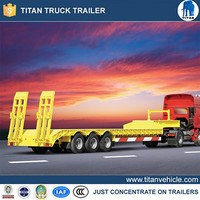 Best selling 3 axles low flatbed semi trailer lowboy truck dimensions