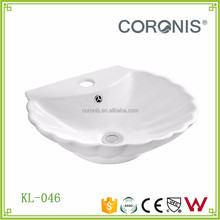 Mother of pearl shape shell shape bathroom ceramic wash hand basin for decoration
