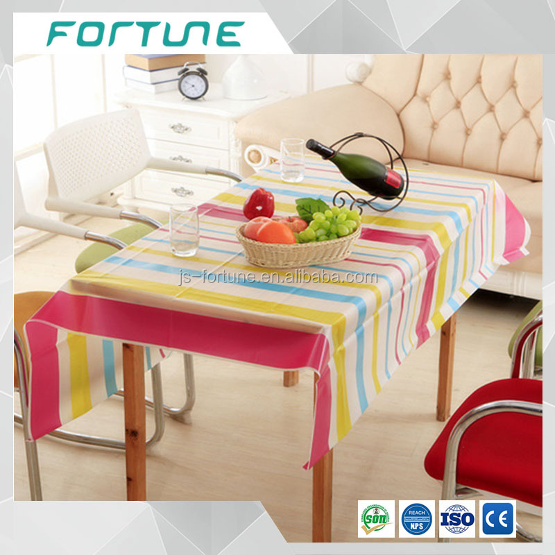 clear film with strip line printed colorful table cloth peva eco friendly