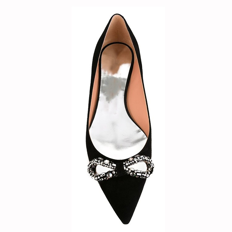 wholesale ladies fashion suede pointed toe crystal diamond women flat dress evening shoes
