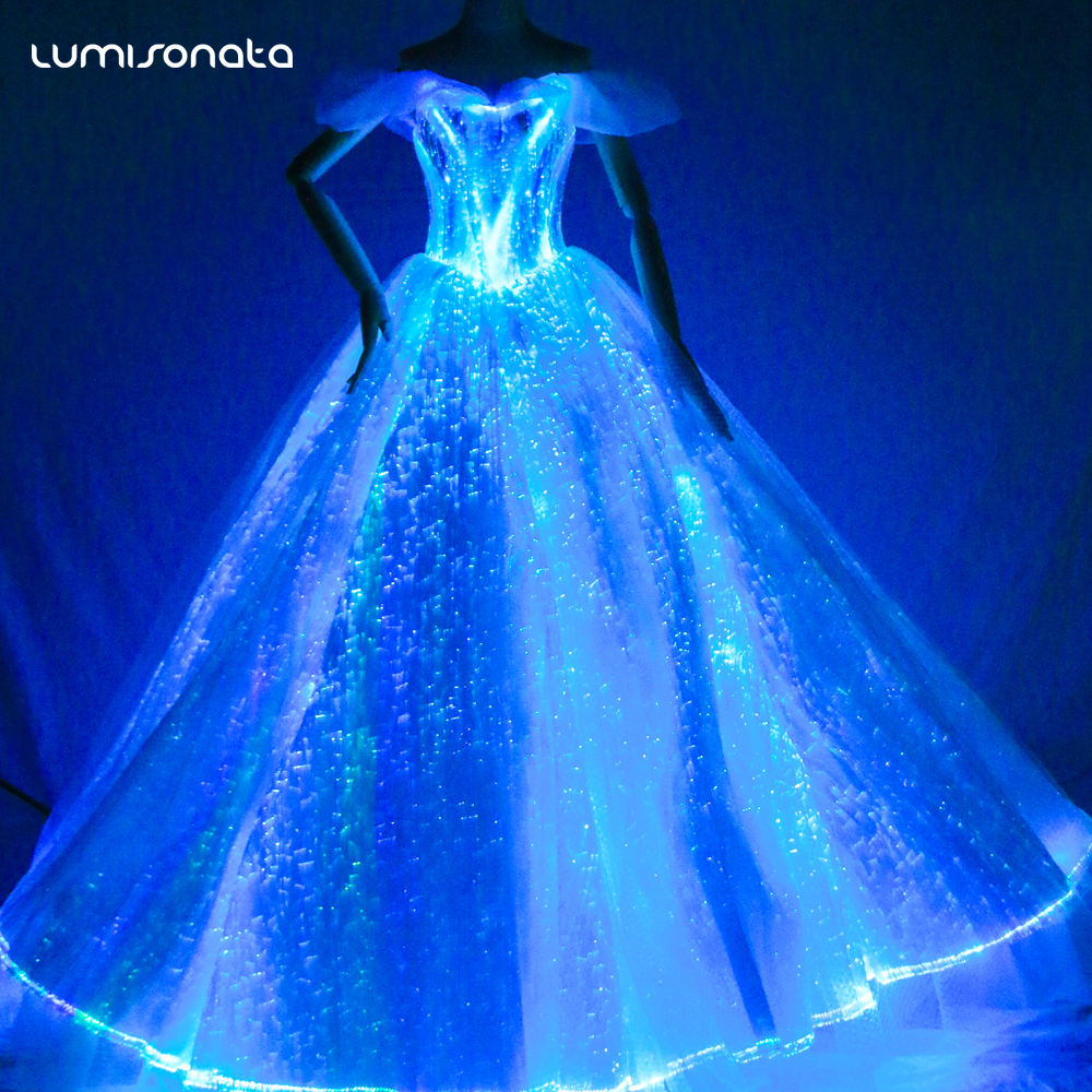Fantastic Optic Fiber Luminous Glowing Wedding Dresses